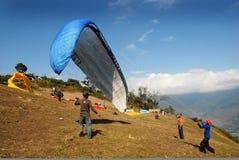 尼泊尔滑翔伞 库存图片