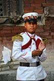 尼泊尔的军事乐队的成员 库存照片