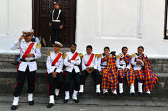 尼泊尔的军事乐队 图库摄影