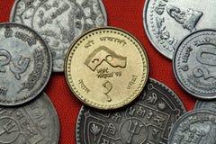 尼泊尔的硬币 1998次参观尼泊尔年 图库摄影