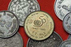 尼泊尔的硬币 联合国第50周年 库存照片