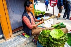 尼泊尔的街边小贩 免版税库存图片