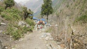 尼泊尔迁徙的背包徒步旅行者在Manaclu山附近 股票视频