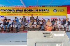 尼泊尔` s总理先生 KP夏尔马参与在吉尼斯世界纪录大全事件的Oli 2018年 免版税库存照片