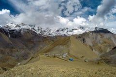 尼泊尔 Thorong La通行证 高的阵营 库存照片