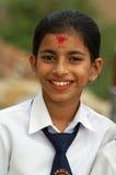 尼泊尔protrait学校微笑少年 免版税图库摄影