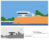 尼泰罗伊风景色的当代艺术博物馆和概述 向量例证