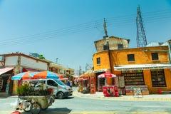 尼科西亚,北塞浦路斯30日2014年:在地方市场、卡车有花的和小商店部分的看法在尼科西亚 免版税库存照片