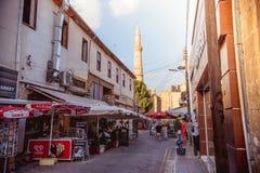 尼科西亚,塞浦路斯- 8月10 :Arasta街道,一条旅游街道l 库存图片