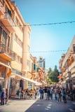 尼科西亚- 4月13 :Ledra街道,一个主要购物通途 免版税图库摄影
