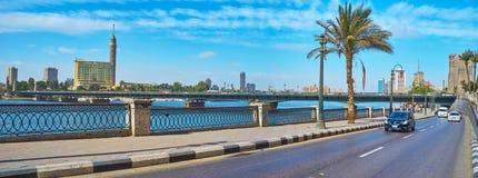 尼罗散步,开罗,埃及全景  免版税图库摄影