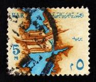 尼罗水坝萨德el阿里在阿斯旺,国家标志serie,大约1964年 免版税库存图片