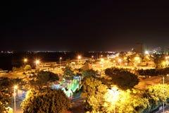 尼罗河在晚上 阿斯旺,埃及 库存照片