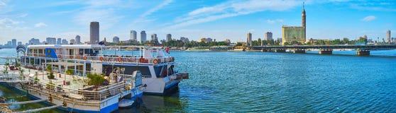 尼罗河的,开罗,埃及船餐馆 免版税库存图片