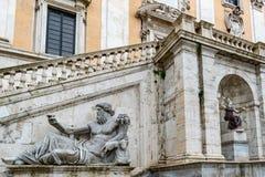 尼罗河神的雕象卡比托利欧山的,罗马 库存照片