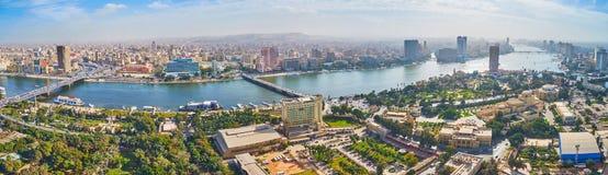 尼罗河,开罗,埃及全景从空气的 库存图片