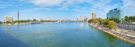 尼罗河,开罗,埃及全景  免版税图库摄影