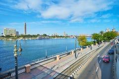 尼罗河,开罗,埃及的堤防 库存图片