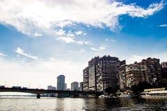 尼罗河Riverscape在开罗,埃及 库存照片