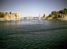 尼罗省在卢克索,埃及 免版税库存图片