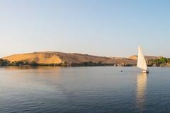 尼罗航行日落,埃及 免版税库存图片