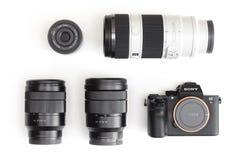 索尼阿尔法mirrorless照相机和E登上透镜 库存图片