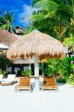 尼巴椰子小屋与两竹sunbeds的太阳树荫 免版税库存图片