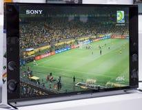 索尼4K电视,流动世界国会2014年 库存图片