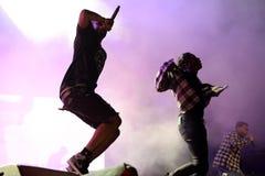 尽快从哈林的岩石Hip Hop集体的交谈者和成员在音乐会尽快围攻在生波探侧器节日 免版税库存图片