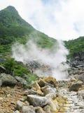 尾气富士箱根含硫公园的蒸汽 免版税库存图片