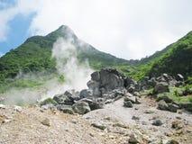 尾气富士箱根含硫公园的蒸汽 免版税图库摄影
