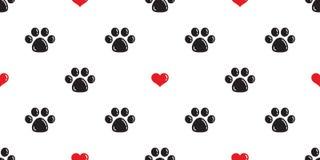 尾随爪子无缝的样式传染媒介心脏华伦泰被隔绝的猫爪子脚印动画片墙纸背景例证 库存例证