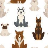 尾随类型和在白色背景传染媒介隔绝的品种似犬动物无缝的样式 向量例证