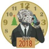 尾随达尔马提亚狗与电话新年好2018年 免版税图库摄影