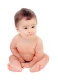 尿布的可爱的六个月的婴孩 免版税库存图片