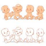 尿布集合的婴孩 向量例证