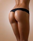 屁股-在黑女用贴身内衣裤的性感的靶垛 库存图片