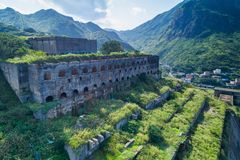 13层数留在铜精炼厂鸟瞰图遗骸水湳洞,瑞芳Yinyang海区,新的台北,台湾 图库摄影