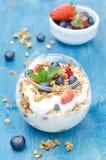 层状点心用酸奶、格兰诺拉麦片、新鲜的莓果和碗 免版税库存照片