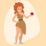 穴居人原始石器时期动画片穴居人的妇女字符演变传染媒介例证 免版税库存图片