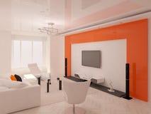 居住与橙色背景 向量例证