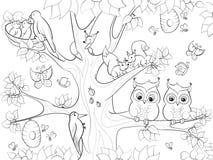 居住在儿童动画片的树着色的动物和鸟导航例证 图库摄影