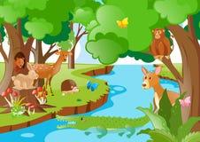 居住在河旁边的许多动物 向量例证