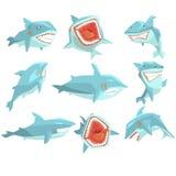 居住在温暖的海水现实漫画人物传染媒介套的大白鲨鱼海鱼不同的看法 库存图片