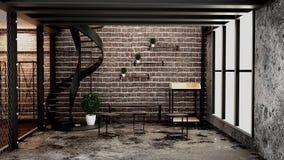 居住室内设计的现代顶楼样式 3d?? 库存例证