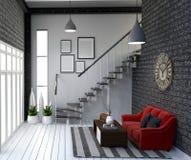 居住室内设计的现代顶楼样式 3d?? 向量例证