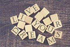 居住您的梦想消息 免版税库存照片