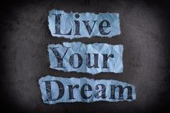 居住您的梦想 com概念小雕象图象其它正确的常设文本 图库摄影