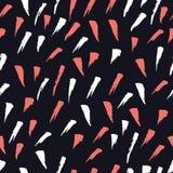 居住珊瑚黑背景无缝的样式的抽象刷子冲程 库存例证
