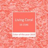 居住珊瑚-年2019箔背景无缝的样式的颜色 向量例证